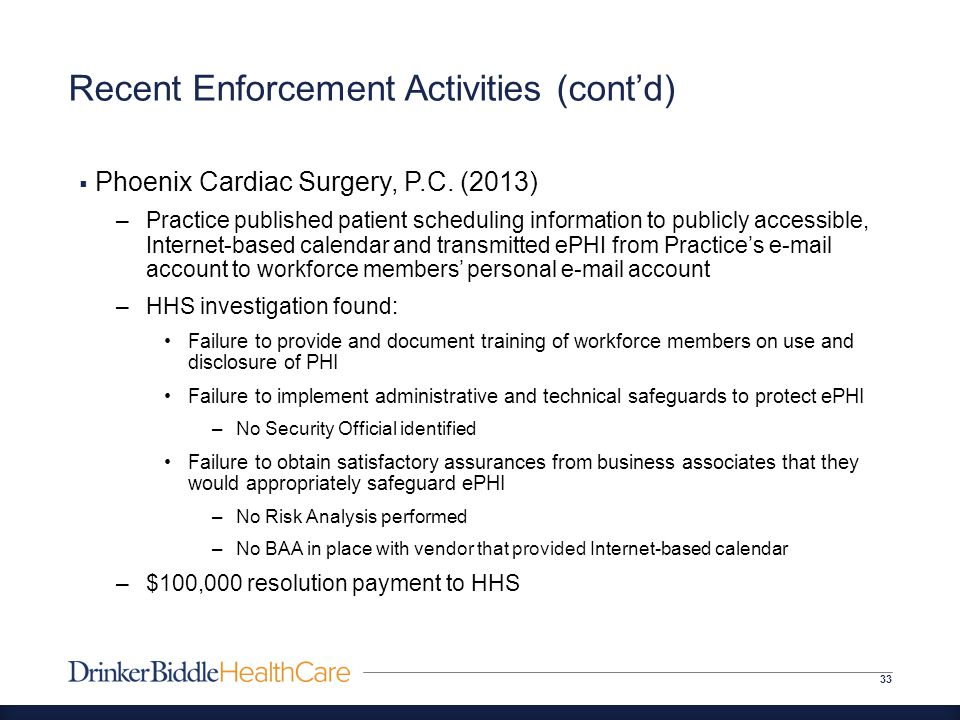 Recent Enforcement Activities (cont'd) 33  Phoenix Cardiac Surgery, P.C.