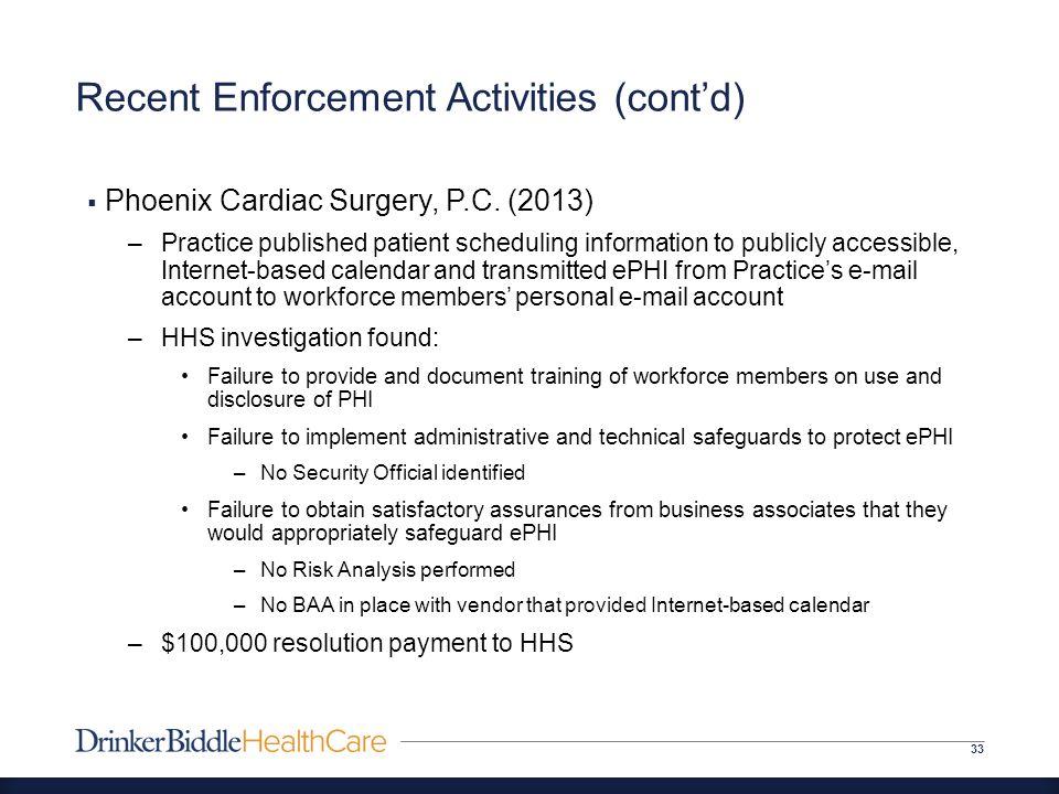 Recent Enforcement Activities (cont'd) 33  Phoenix Cardiac Surgery, P.C.