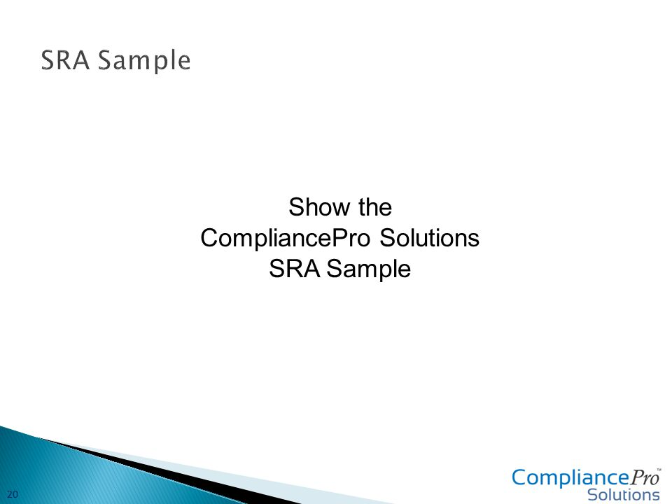 Show the CompliancePro Solutions SRA Sample 20