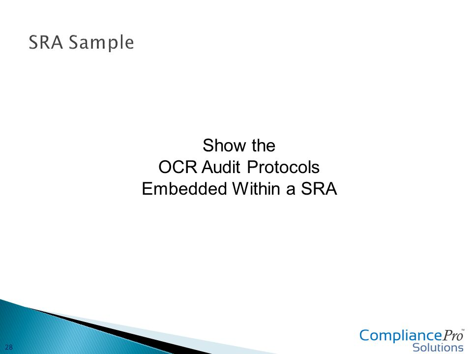 Show the OCR Audit Protocols Embedded Within a SRA 28