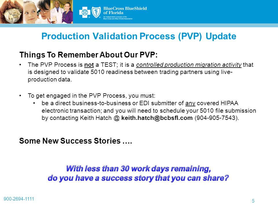 900-2694-1111 5 Things To Remember About Our PVP: The PVP Process is not a TEST; it is a controlled production migration activity that is designed to