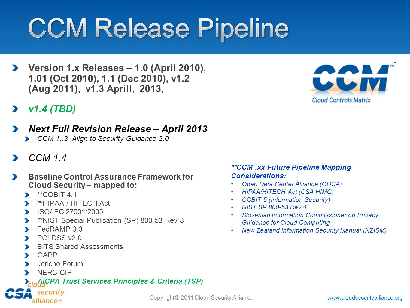 www.cloudsecurityalliance.org Copyright © 2011 Cloud Security Alliance Version 1.x Releases – 1.0 (April 2010), 1.01 (Oct 2010), 1.1 (Dec 2010), v1.2 (Aug 2011), v1.3 Aprill, 2013, v1.4 (TBD) Next Full Revision Release – April 2013 CCM 1..3 Align to Security Guidance 3.0 CCM 1.4 Baseline Control Assurance Framework for Cloud Security – mapped to: **COBIT 4.1 **HIPAA / HITECH Act ISO/IEC 27001:2005 **NIST Special Publication (SP) 800-53 Rev 3 FedRAMP 3.0 PCI DSS v2.0 BITS Shared Assessments GAPP Jericho Forum NERC CIP AICPA Trust Services Principles & Criteria (TSP) **CCM.xx Future Pipeline Mapping Considerations: Open Data Center Alliance (ODCA) HIPAA/HITECH Act (CSA HIMG) COBIT 5 (Information Security) NIST SP 800-53 Rev 4 Slovenian Information Commissioner on Privacy Guidance for Cloud Computing New Zealand Information Security Manual (NZISM)