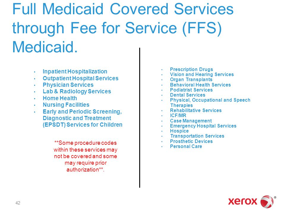 Full Medicaid Covered Services through Fee for Service (FFS) Medicaid. Inpatient Hospitalization Outpatient Hospital Services Physician Services Lab &