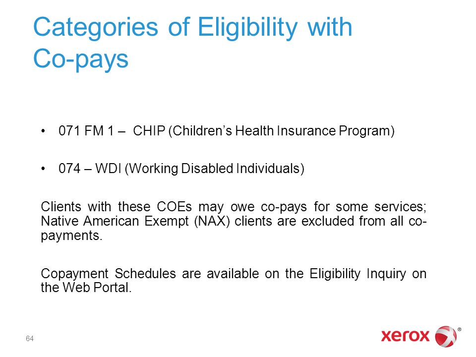Categories of Eligibility with Co-pays 071 FM 1 – CHIP (Children's Health Insurance Program) 074 – WDI (Working Disabled Individuals) Clients with these COEs may owe co-pays for some services; Native American Exempt (NAX) clients are excluded from all co- payments.
