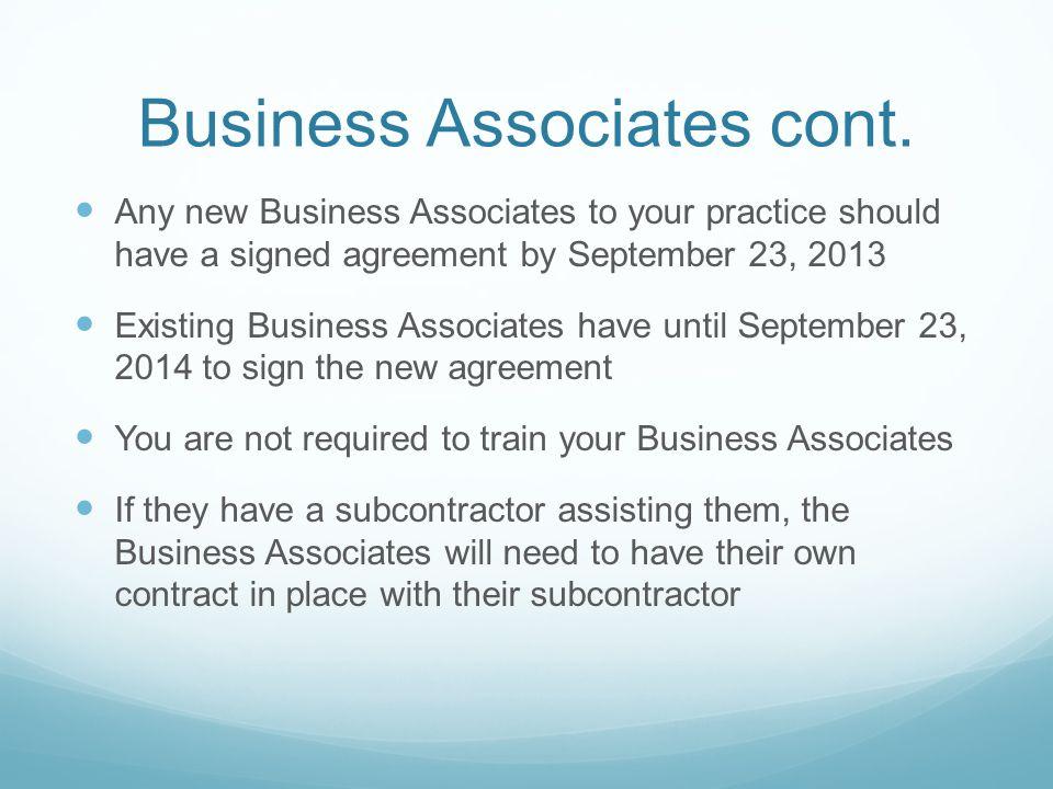 Business Associates cont.