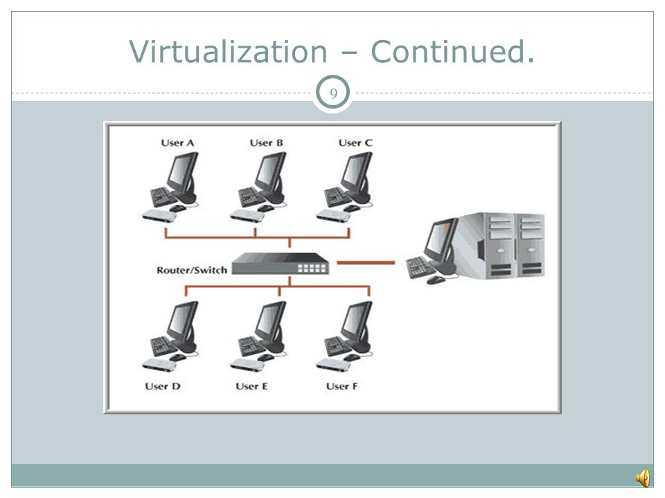 Virtualization – Continued. 9
