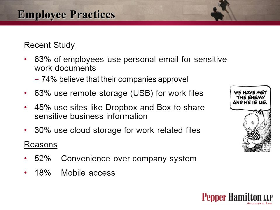 Employee Practices Recent Study 63% of employees use personal email for sensitive work documents −74% believe that their companies approve.