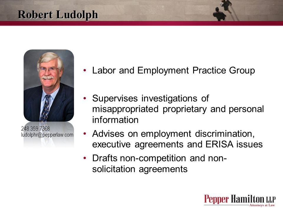 Robert Ludolph 248.359.7368 ludolphr@pepperlaw.com Labor and Employment Practice Group Supervises investigations of misappropriated proprietary and personal information Advises on employment discrimination, executive agreements and ERISA issues Drafts non-competition and non- solicitation agreements