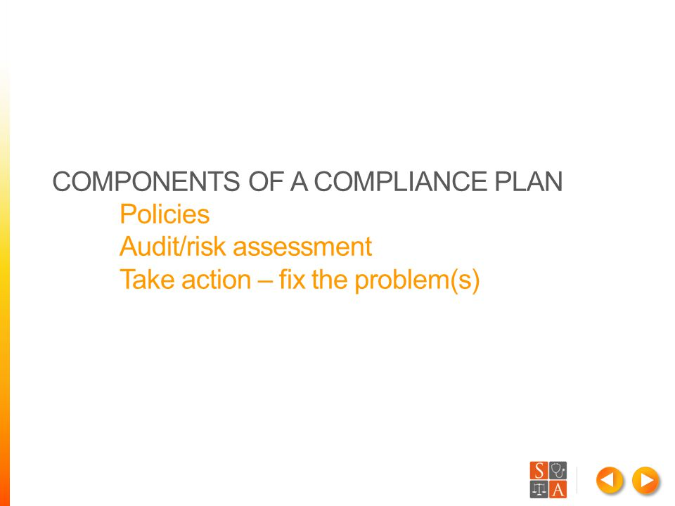 COMPONENTS OF A COMPLIANCE PLAN Policies Audit/risk assessment Take action – fix the problem(s)