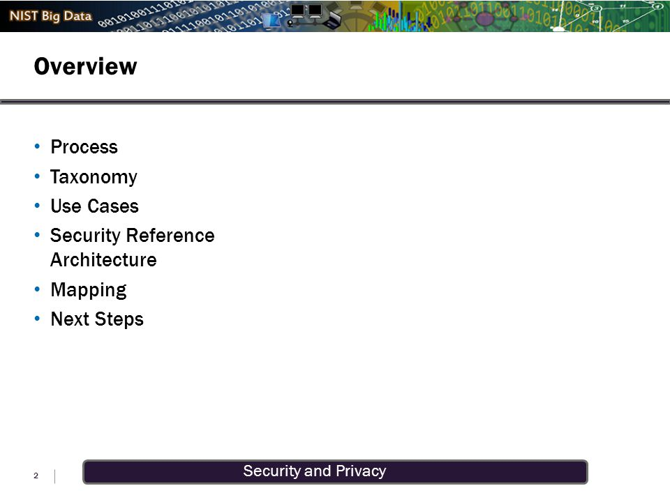 Security and Privacy Overview 2 Process Taxonomy Use Cases Security Reference Architecture Mapping Next Steps