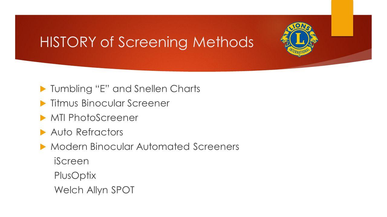 HISTORY of Screening Methods  Tumbling E and Snellen Charts  Titmus Binocular Screener  MTI PhotoScreener  Auto Refractors  Modern Binocular Automated Screeners iScreen PlusOptix Welch Allyn SPOT