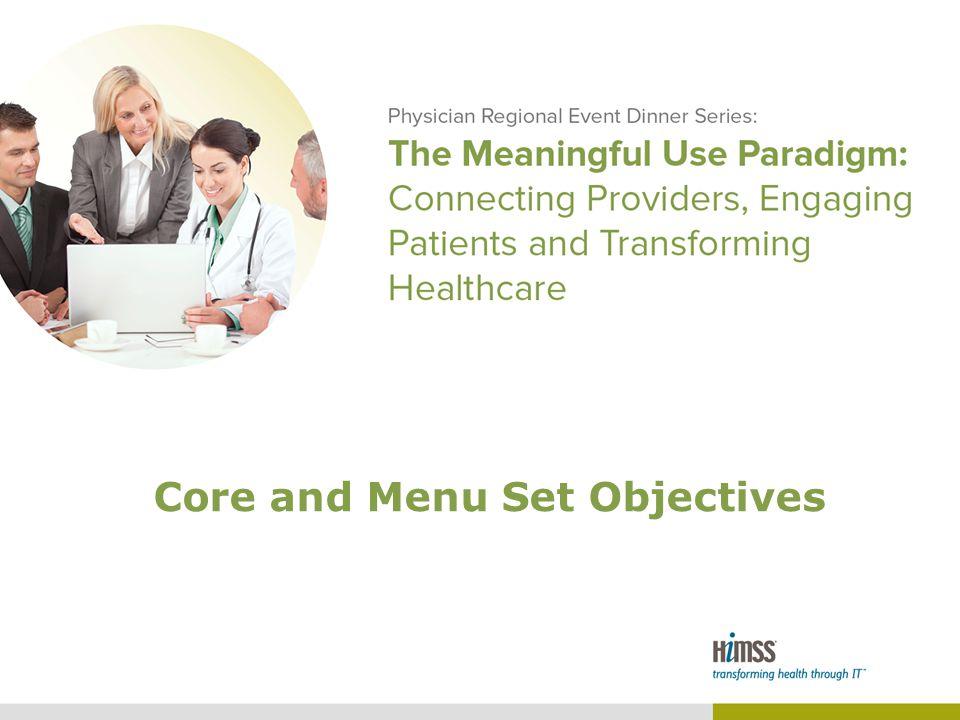 Core and Menu Set Objectives