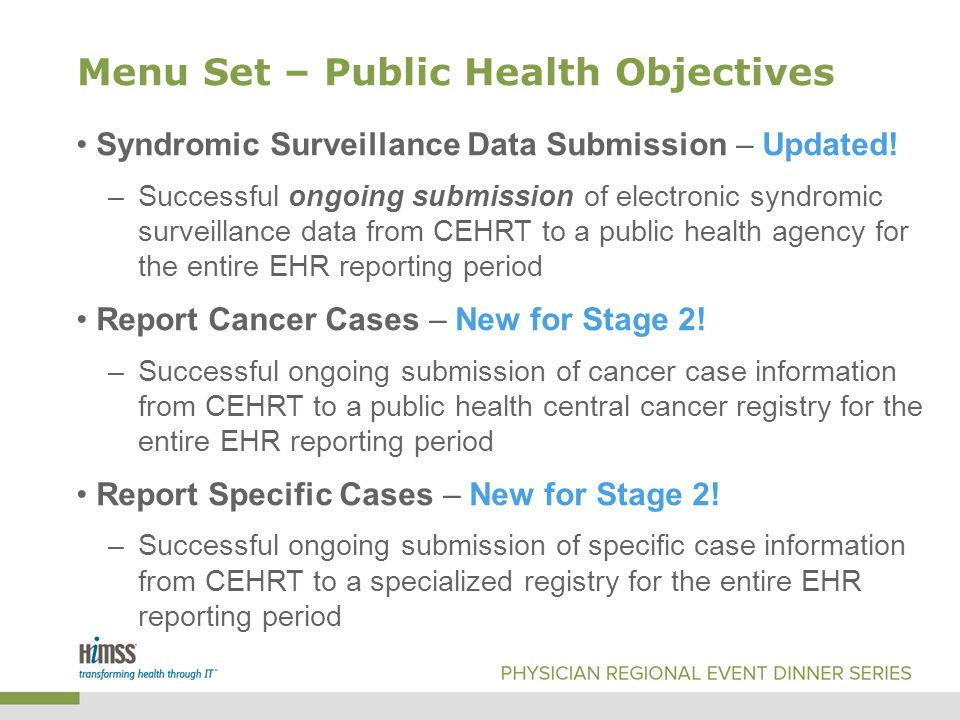 Menu Set – Public Health Objectives Syndromic Surveillance Data Submission – Updated.
