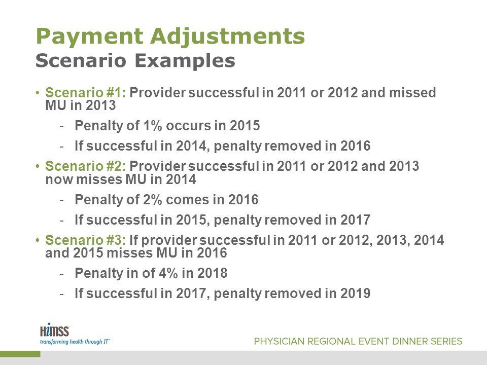 Payment Adjustments Scenario Examples Scenario #1: Provider successful in 2011 or 2012 and missed MU in 2013 -Penalty of 1% occurs in 2015 -If successful in 2014, penalty removed in 2016 Scenario #2: Provider successful in 2011 or 2012 and 2013 now misses MU in 2014 -Penalty of 2% comes in 2016 -If successful in 2015, penalty removed in 2017 Scenario #3: If provider successful in 2011 or 2012, 2013, 2014 and 2015 misses MU in 2016 -Penalty in of 4% in 2018 -If successful in 2017, penalty removed in 2019
