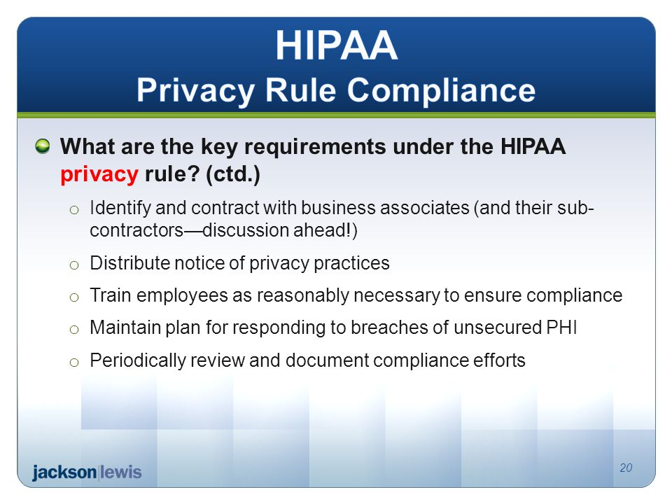 What are the key requirements under the HIPAA privacy rule.