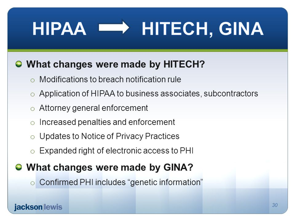 What changes were made by HITECH.