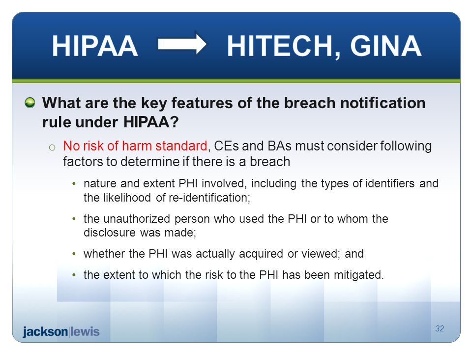 What are the key features of the breach notification rule under HIPAA.