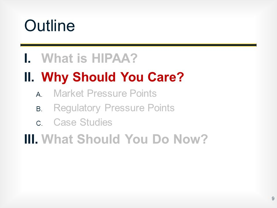 I.What is HIPAA.II.Why Should You Care. A. Market Pressure Points B.
