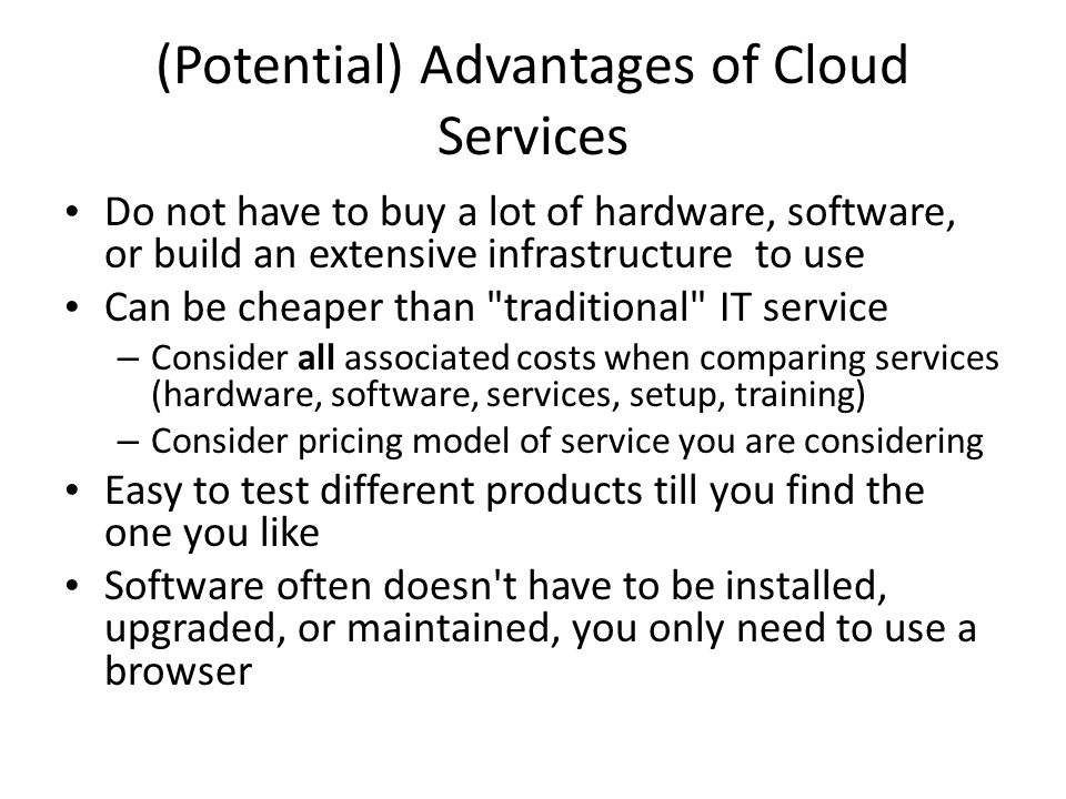 Cloud Services File Storage / Sharing – Be very careful with this category of software.