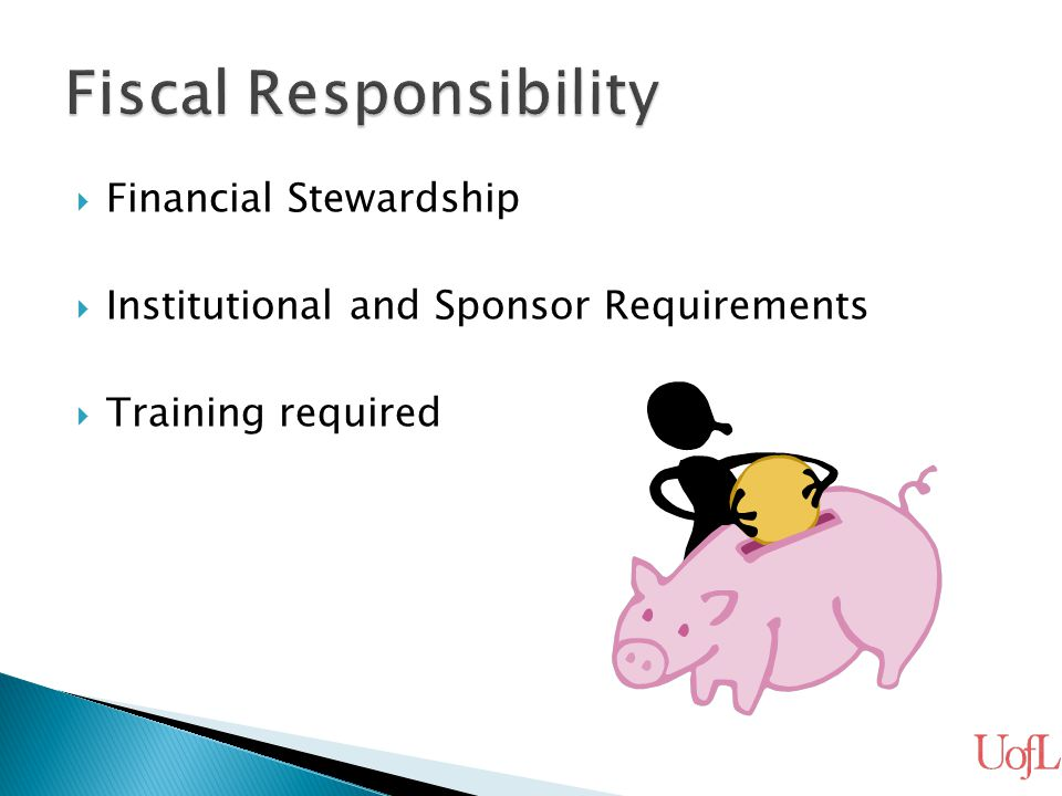  Financial Stewardship  Institutional and Sponsor Requirements  Training required