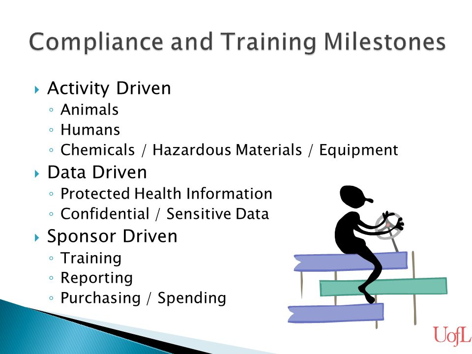  Activity Driven ◦ Animals ◦ Humans ◦ Chemicals / Hazardous Materials / Equipment  Data Driven ◦ Protected Health Information ◦ Confidential / Sensi