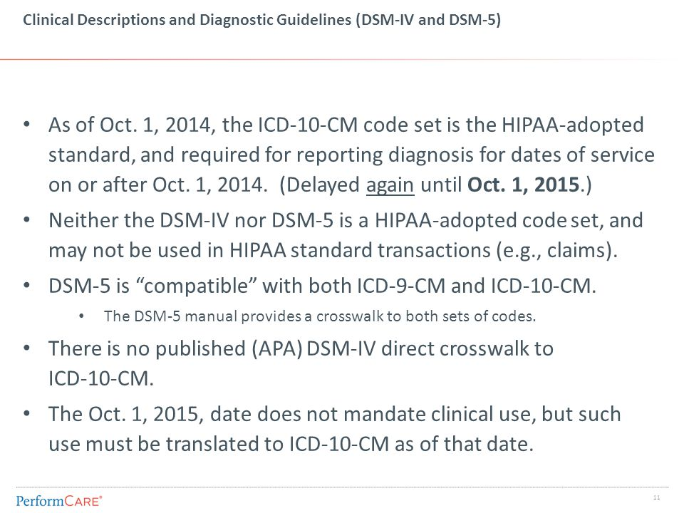 Clinical Descriptions and Diagnostic Guidelines (DSM-IV and DSM-5) As of Oct. 1, 2014, the ICD-10-CM code set is the HIPAA-adopted standard, and requi