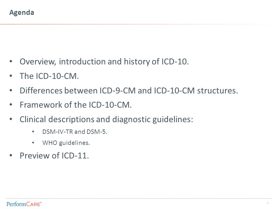 Agenda Overview, introduction and history of ICD-10. The ICD-10-CM. Differences between ICD-9-CM and ICD-10-CM structures. Framework of the ICD-10-CM.