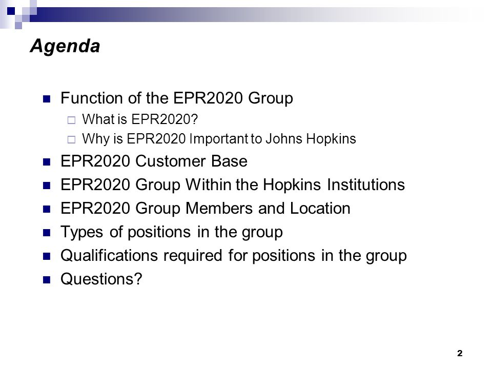 2 Agenda Function of the EPR2020 Group  What is EPR2020.