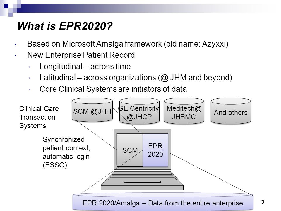 4 EPR is old, difficult to extend, and retiring by Dec 2010 Improve Patient Care – aggregate data from more sources Increasing demand for ability for researchers to query Future possibilities – e.g.