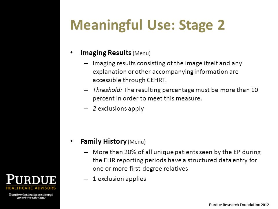 Meaningful Use: Stage 2 Imaging Results (Menu) – Imaging results consisting of the image itself and any explanation or other accompanying information