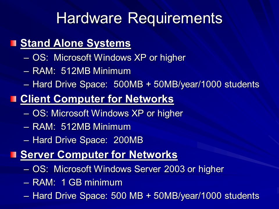Hardware Requirements Stand Alone Systems –OS: Microsoft Windows XP or higher –RAM: 512MB Minimum –Hard Drive Space: 500MB + 50MB/year/1000 students C