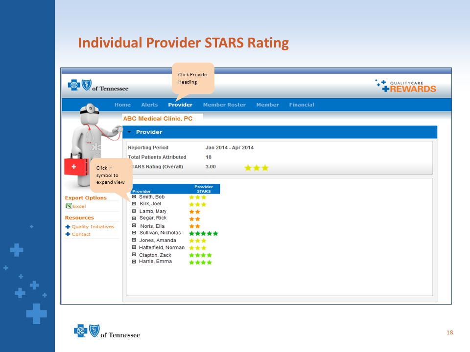 Individual Provider STARS Rating 18 Click Provider Heading Click + symbol to expand view