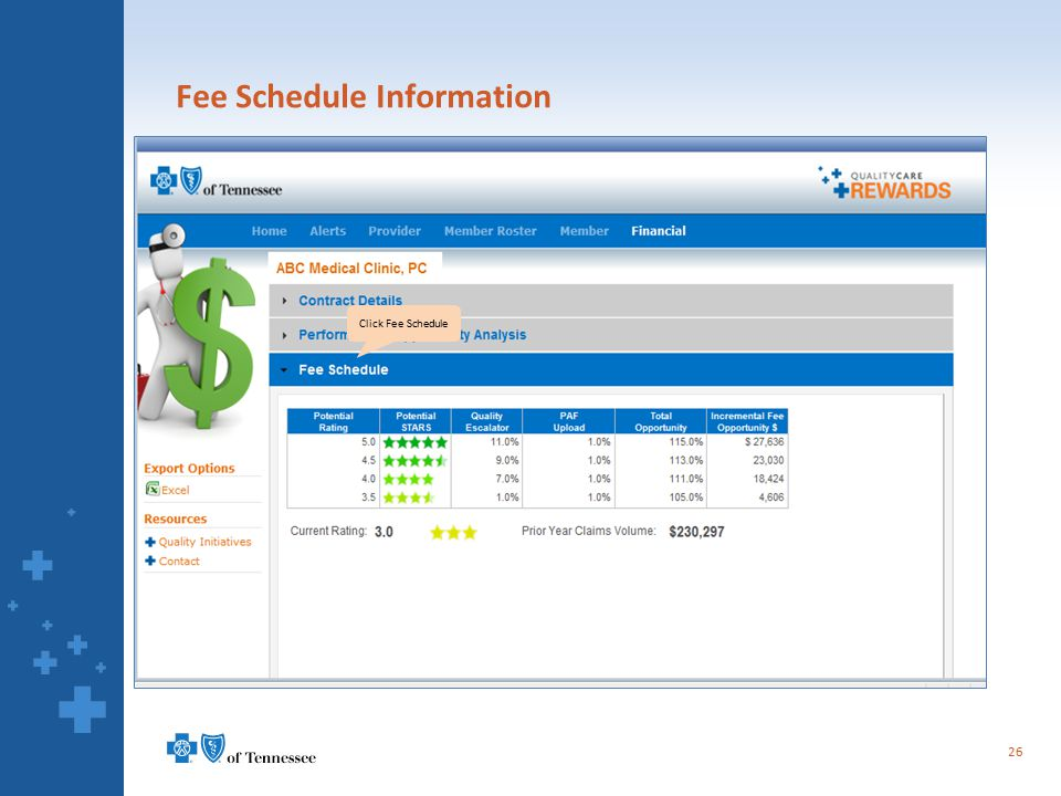 Fee Schedule Information 26 Click Fee Schedule