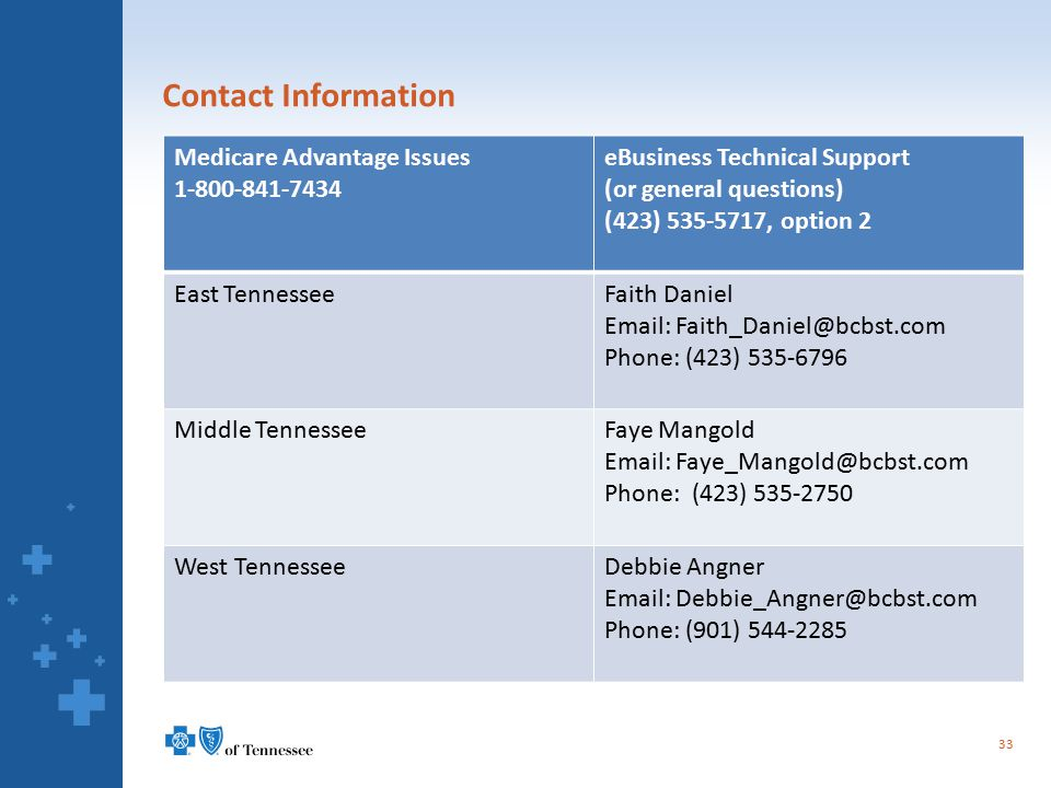 Contact Information 33 Medicare Advantage Issues 1-800-841-7434 eBusiness Technical Support (or general questions) (423) 535-5717, option 2 East Tenne