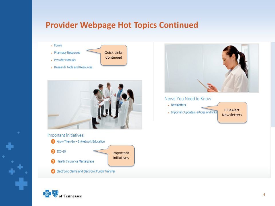 Provider Webpage Hot Topics Continued 4 Quick Links Continued BlueAlert Newsletters Important Initiatives