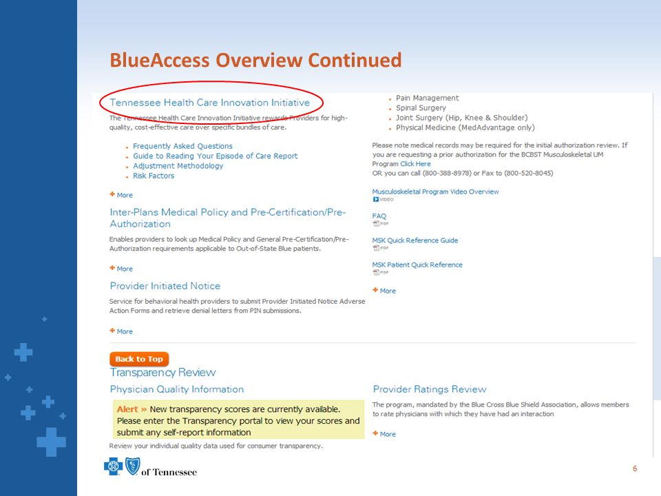 BlueAccess Overview Continued 6