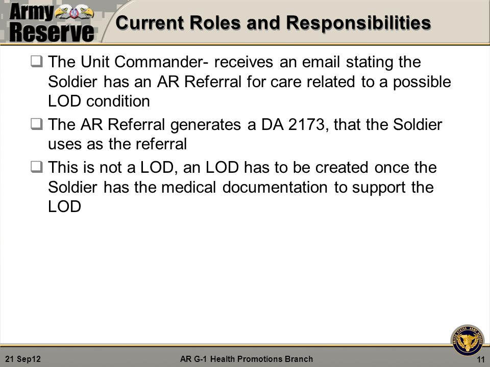AR G-1 Health Promotions Branch 21 Sep12 Current Roles and Responsibilities  The Unit Commander- receives an email stating the Soldier has an AR Refe