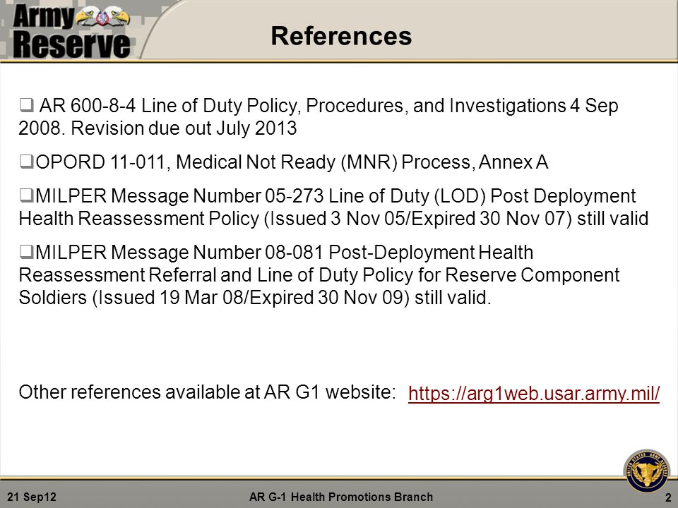AR G-1 Health Promotions Branch 21 Sep12 AR Referral Process Step 2 The RSC PDHRA Case Manager see their list of AR Referrals to act on, click on the Case ID to process 13