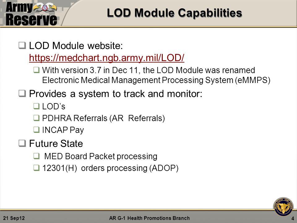 AR G-1 Health Promotions Branch 21 Sep12 LOD Module Capabilities  LOD Module website: https://medchart.ngb.army.mil/LOD/ https://medchart.ngb.army.mi
