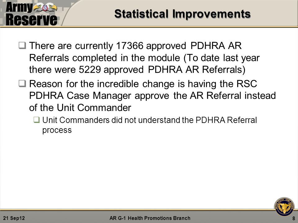 AR G-1 Health Promotions Branch 21 Sep12 System Requirements  Uses must register through eMMPS LOD module: https://medchart.ngb.army.mil/LOD/ https://medchart.ngb.army.mil/LOD/  Complete HIPAA certification and upload into your profile prior to access approval  HIPAA certification can be completed in eMMPS LOD when registering by clicking on RC CBT System under the HIPAA section during registration  Ensure that you choose the correct user role and RSC, also check receive email box to ensure receipt of correspondence 9