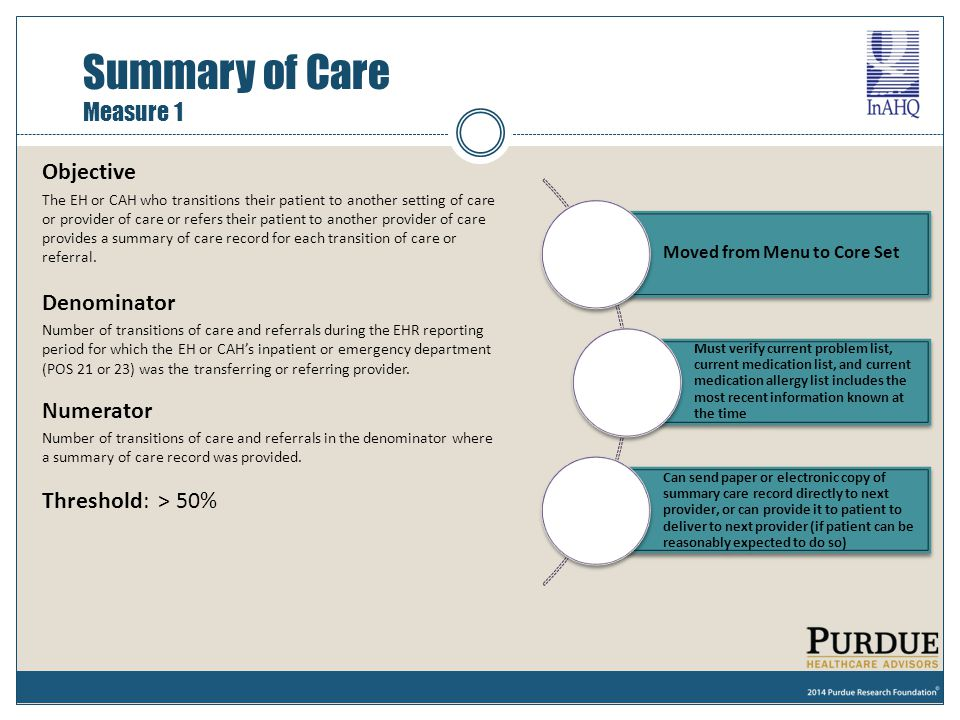 Objective The EH or CAH who transitions their patient to another setting of care or provider of care or refers their patient to another provider of ca