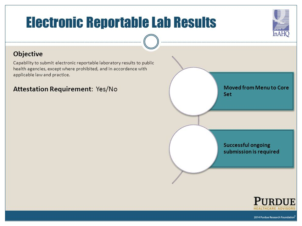 Objective Capability to submit electronic reportable laboratory results to public health agencies, except where prohibited, and in accordance with app