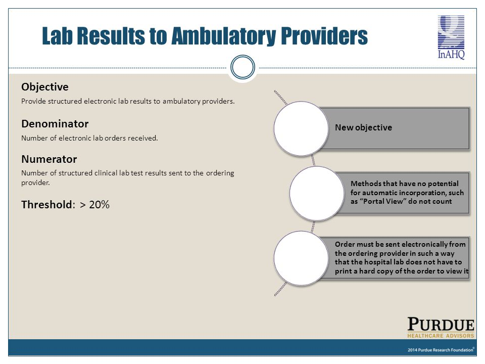 Objective Provide structured electronic lab results to ambulatory providers. Denominator Number of electronic lab orders received. Numerator Number of