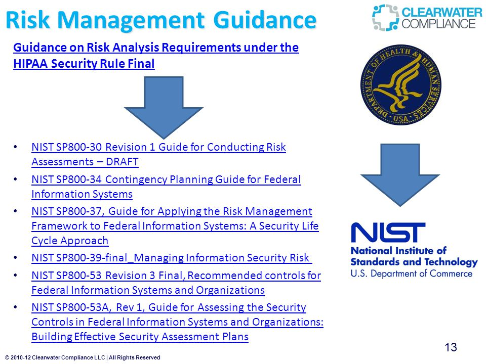© 2010-12 Clearwater Compliance LLC | All Rights Reserved Risk Management Guidance Guidance on Risk Analysis Requirements under the HIPAA Security Rule Final 13 NIST SP800-30 Revision 1 Guide for Conducting Risk Assessments – DRAFT NIST SP800-30 Revision 1 Guide for Conducting Risk Assessments – DRAFT NIST SP800-34 Contingency Planning Guide for Federal Information Systems NIST SP800-34 Contingency Planning Guide for Federal Information Systems NIST SP800-37, Guide for Applying the Risk Management Framework to Federal Information Systems: A Security Life Cycle Approach NIST SP800-37, Guide for Applying the Risk Management Framework to Federal Information Systems: A Security Life Cycle Approach NIST SP800-39-final_Managing Information Security Risk NIST SP800-53 Revision 3 Final, Recommended controls for Federal Information Systems and Organizations NIST SP800-53 Revision 3 Final, Recommended controls for Federal Information Systems and Organizations NIST SP800-53A, Rev 1, Guide for Assessing the Security Controls in Federal Information Systems and Organizations: Building Effective Security Assessment Plans NIST SP800-53A, Rev 1, Guide for Assessing the Security Controls in Federal Information Systems and Organizations: Building Effective Security Assessment Plans