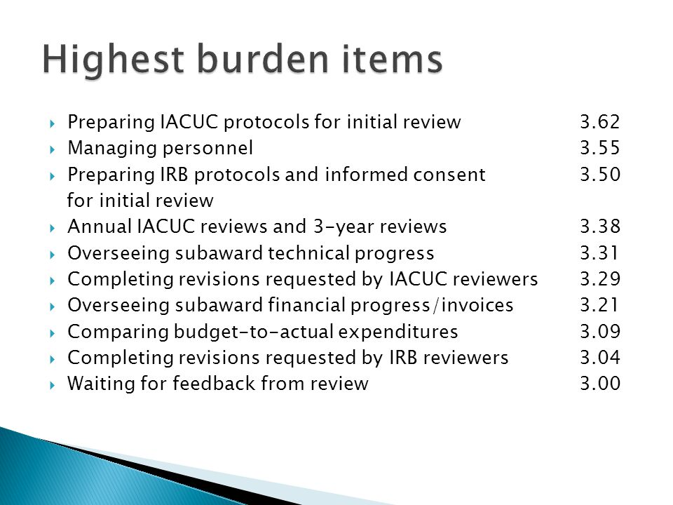  Preparing IACUC protocols for initial review3.62  Managing personnel3.55  Preparing IRB protocols and informed consent3.50 for initial review  Annual IACUC reviews and 3-year reviews 3.38  Overseeing subaward technical progress 3.31  Completing revisions requested by IACUC reviewers3.29  Overseeing subaward financial progress/invoices3.21  Comparing budget-to-actual expenditures 3.09  Completing revisions requested by IRB reviewers3.04  Waiting for feedback from review3.00