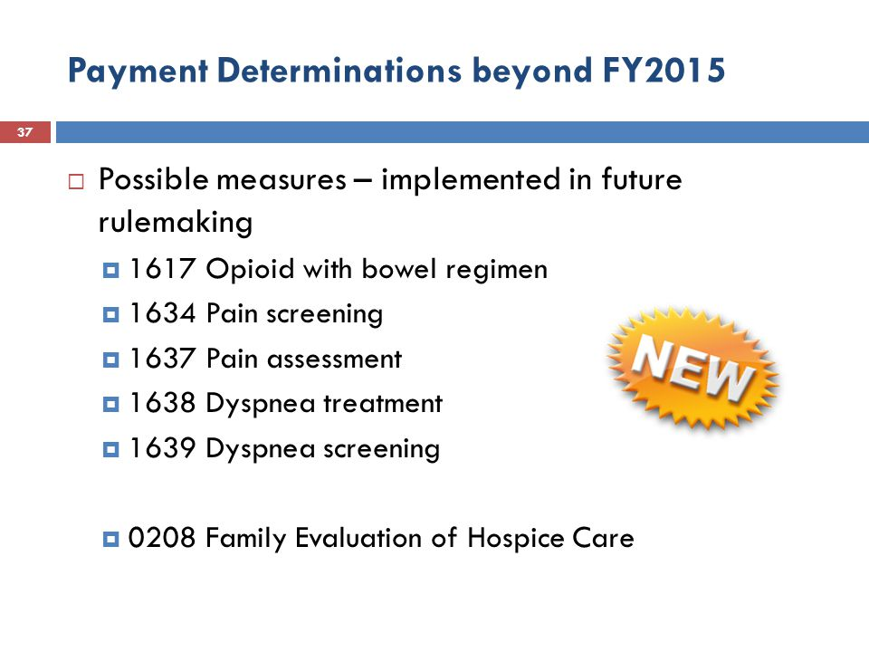 Payment Determinations beyond FY2015 37  Possible measures – implemented in future rulemaking  1617 Opioid with bowel regimen  1634 Pain screening  1637 Pain assessment  1638 Dyspnea treatment  1639 Dyspnea screening  0208 Family Evaluation of Hospice Care