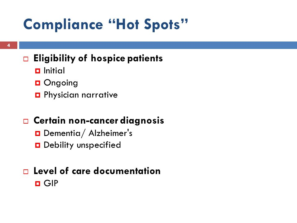 FY2013 OIG Work Plan 85  Acute-Care Hospital Inpatient Transfers to Inpatient Hospice Care  Review Medicare claims for inpatient stays when beneficiary was transferred to hospice care and examine the relationship between the acute-care hospital and the hospice provider.