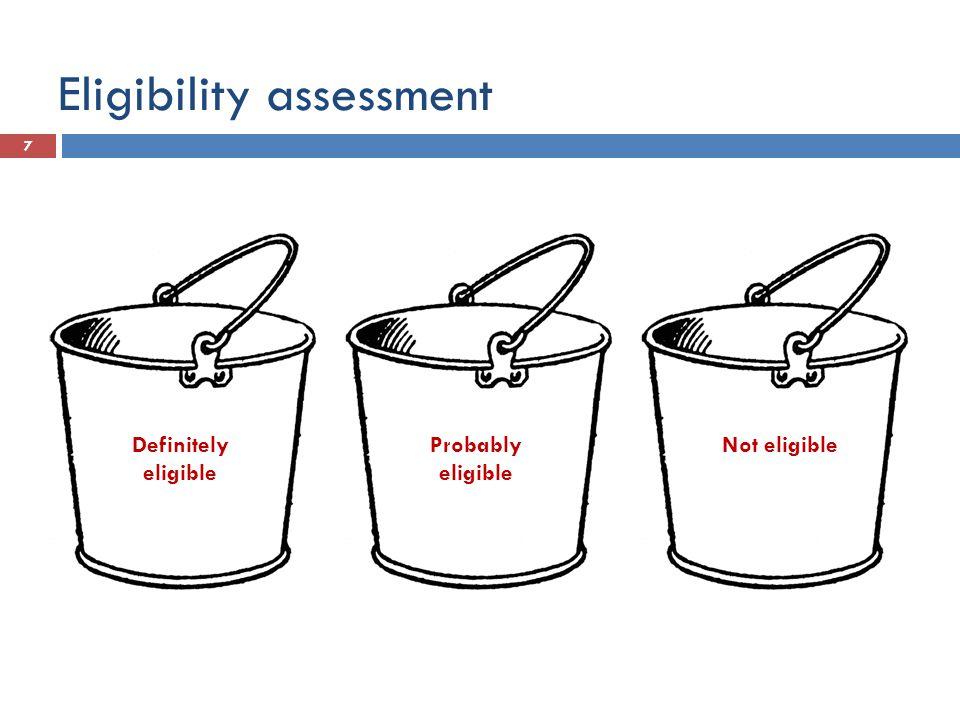Eligibility assessment 7 Definitely eligible Probably eligible Not eligible