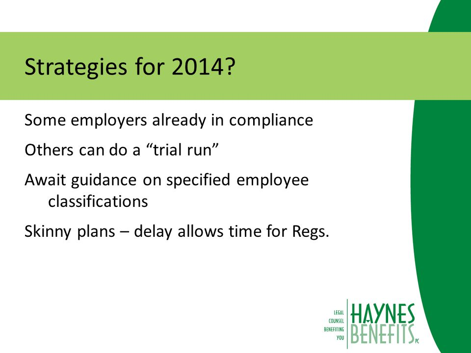 Strategies for 2014.