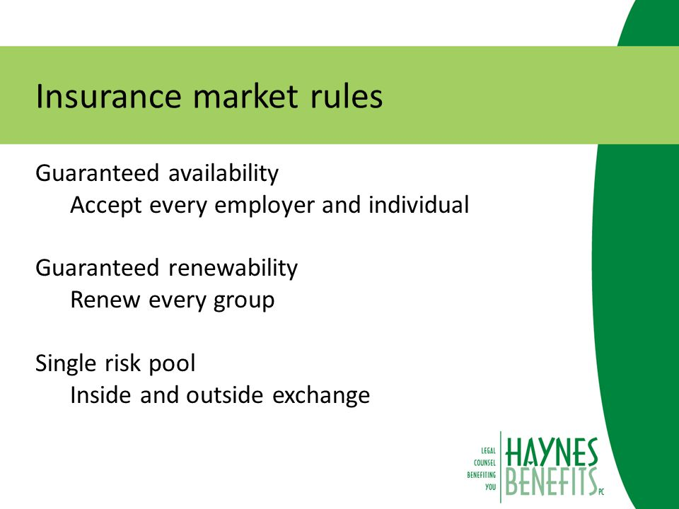 Insurance market rules Reinsurance Funded by insurers and plans Risk corridors Limits on gains or losses Risk adjustment Payments to insurers in high risk markets